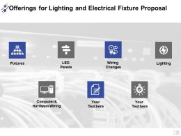 Offerings For Lighting And Electrical Fixture Proposal Ppt Powerpoint Presentation Portfolio Deck