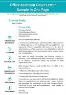 Office Assistant Cover Letter Sample In One Page Presentation Report Infographic PPT PDF Document
