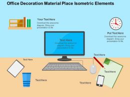 Office Decoration Material Place Isometric Elements Flat Powerpoint Design