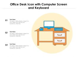 Office Desk Icon With Computer Screen And Keyboard