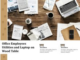 Office Employees Utilities And Laptop On Wood Table