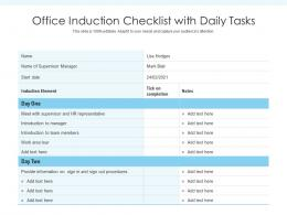 Office Induction Checklist With Daily Tasks