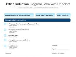 Office Induction Program Form With Checklist