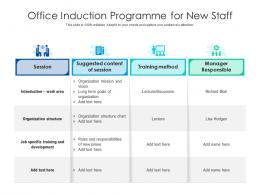 Office Induction Programme For New Staff