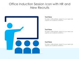Office Induction Session Icon With HR And New Recruits