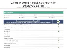 Office Induction Tracking Sheet With Employee Details