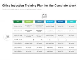 Office Induction Training Plan For The Complete Week