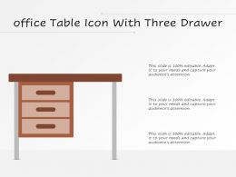 Office Table Icon With Three Drawer