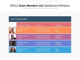 Office Team Member List Dashboard Window
