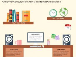 Office With Computer Clock Files Calender And Office Material Flat Powerpoint Desgin