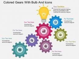 og Colored Gears With Bulb And Icons Flat Powerpoint Design