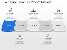 Og Five Staged Linear Low Process Diagram Powerpoint Template