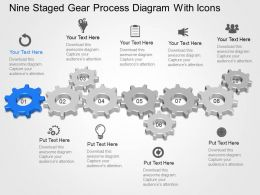 Og Nine Staged Gear Process Diagram With Icons Powerpoint Template