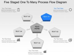 Oh Five Staged One To Many Process Flow Diagram Powerpoint Template Slide