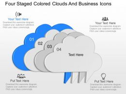 oh Four Staged Colored Clouds And Business Icons Powerpoint Template