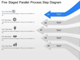 Oi Five Staged Parallel Process Step Diagram Powerpoint Template Slide