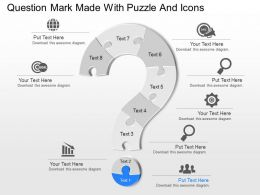 Oi Question Mark Made With Puzzle And Icons Powerpoint Template