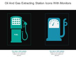 Oil And Gas Extracting Station Icons With Monitors