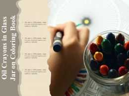 Oil Crayons In Glass Jar On Coloring Book
