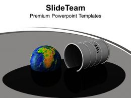 Oil Drum Earth Oilspill Industry Fuel PowerPoint Templates PPT Themes And Graphics 0213