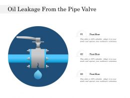 Oil Leakage From The Pipe Valve