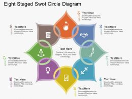 oj Eight Staged Swot Circle Diagram Flat Powerpoint Design