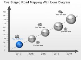 Oj Five Staged Road Mapping With Icons Diagram Powerpoint Template Slide