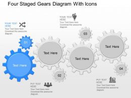 oj Four Staged Gears Diagram With Icons Powerpoint Template