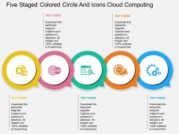 ol Five Staged Colored Circle And Icons Cloud Computing Flat Powerpoint Design
