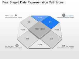 Ol Four Staged Data Representation With Icons Powerpoint Template Slide
