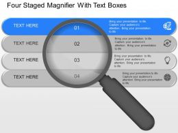 ol Four Staged Magnifier With Text Boxes Powerpoint Template