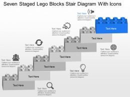 Ol Seven Staged Lego Blocks Stair Diagram With Icons Powerpoint Template