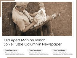 Old Aged Man On Bench Solve Puzzle Column In Newspaper