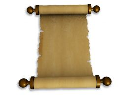 Old Brown Scroll Paper On White Background Stock Photo