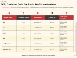 Old Customer Data Tracker In Real Estate Business Property Detail Ppt Powerpoint Presentation File Model