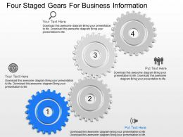 Om Four Staged Gears For Business Information Powerpoint Template Slide