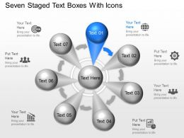 Om Seven Staged Text Boxes With Icons Powerpoint Template