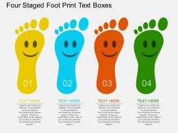 on Four Staged Foot Print Text Boxes Flat Powerpoint Design