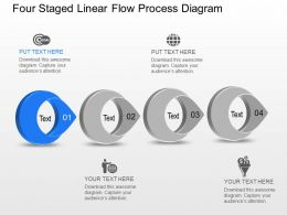 On Four Staged Linear Flow Process Diagram Powerpoint Template Slide