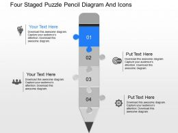 on Four Staged Puzzle Pencil Diagram And Icons Powerpoint Template