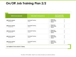 On Off Job Training Plan Beginning Intermediate Ppt Powerpoint Presentation File Influencers