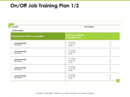On Off Job Training Plan Occupation Ppt Powerpoint Presentation Diagram Ppt