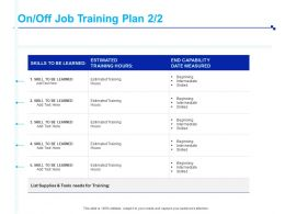 On Off Job Training Plan Skill Ppt Powerpoint Presentation Pictures Aids