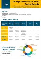 On Page 5 Month Social Media Content Calendar Presentation Report Infographic PPT PDF Document