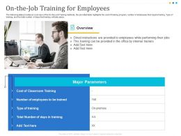 On The Job Training For Employees Internal Ppt Powerpoint Presentation Microsoft