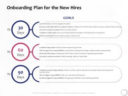 Onboarding Plan For The New Hires Ppt Powerpoint Presentation Icon Visuals