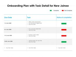 Onboarding Plan With Task Detail For New Joinee