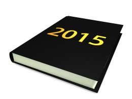 One Book With 2015 Year Analysis For Business Stock Photo