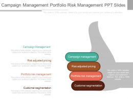 One Campaign Management Portfolio Risk Management Ppt Slides