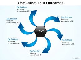 one cause four outcomes ppt slides presentation diagrams templates powerpoint info graphics